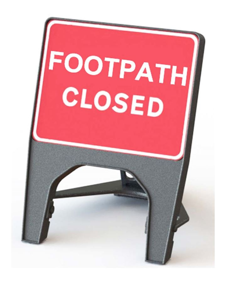 Footpath Closed Road Q Sign
