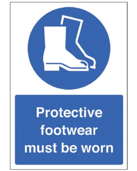 Protective Footwear Must Be Worn Sign Rigid Plastic
