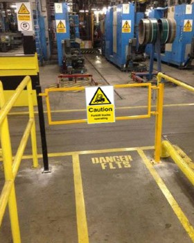 Caution Forklift Trucks Sign Rigid Plastic