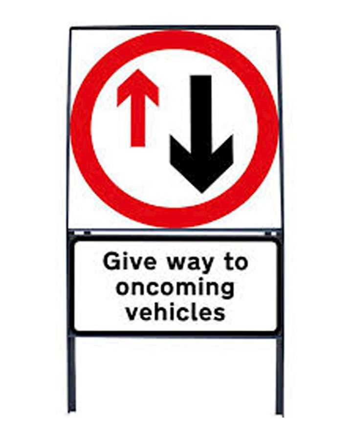 Give Way To Oncoming Vehicles Sign Chapter 8  Red Book