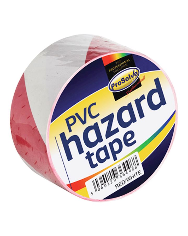 Red - White Hazard Warning Adhesive Tape