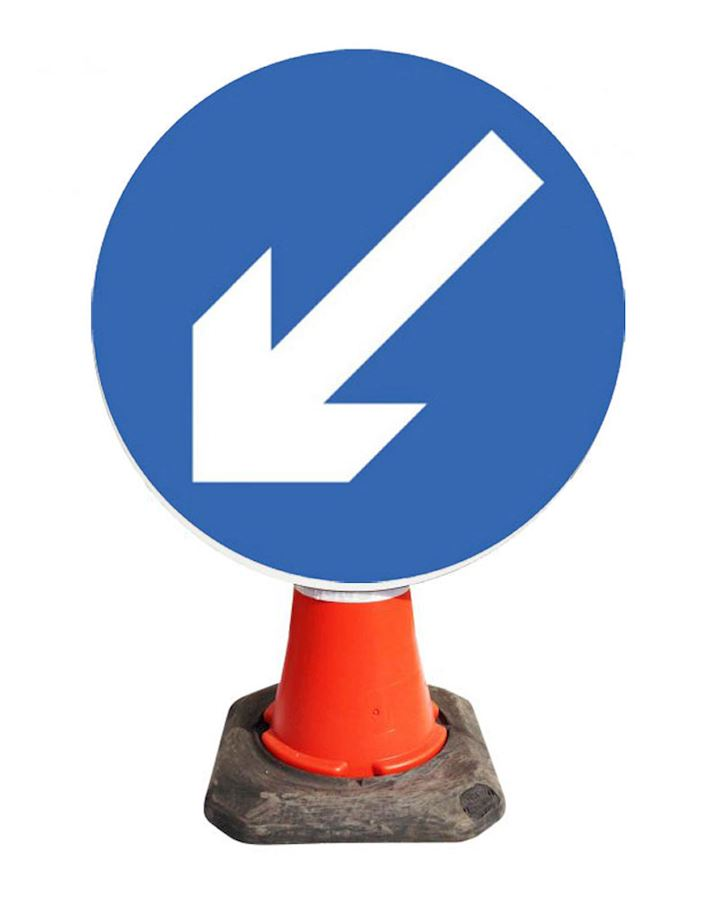 Keep Left Or Right Cone Sign - Directional Arrow Sign