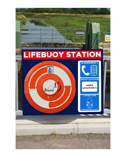 Lockable Lifebuoy Cabinet For 24 Inch buoys - Rail Mount