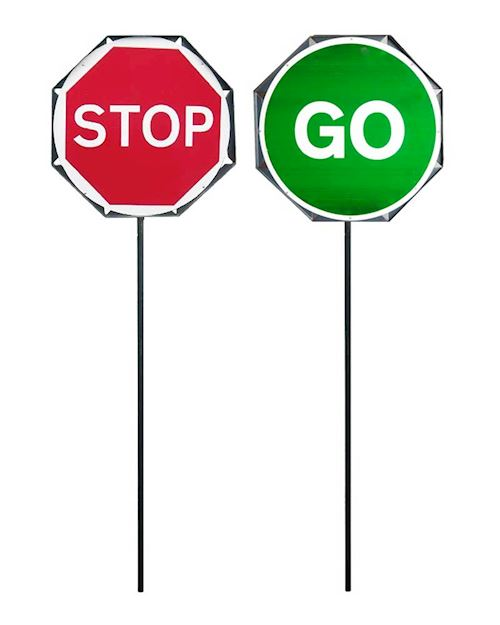 Lollipop Metal Stop And Go Traffic Sign