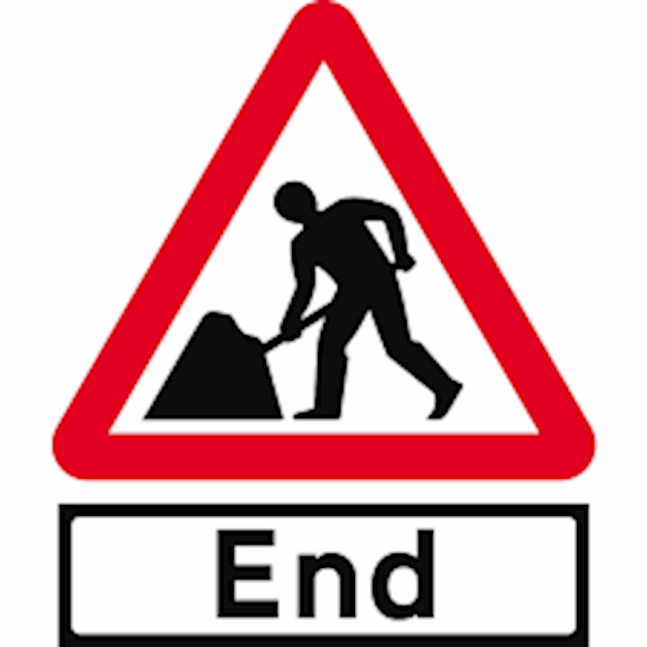 Men At Work - Road Works End Sign
