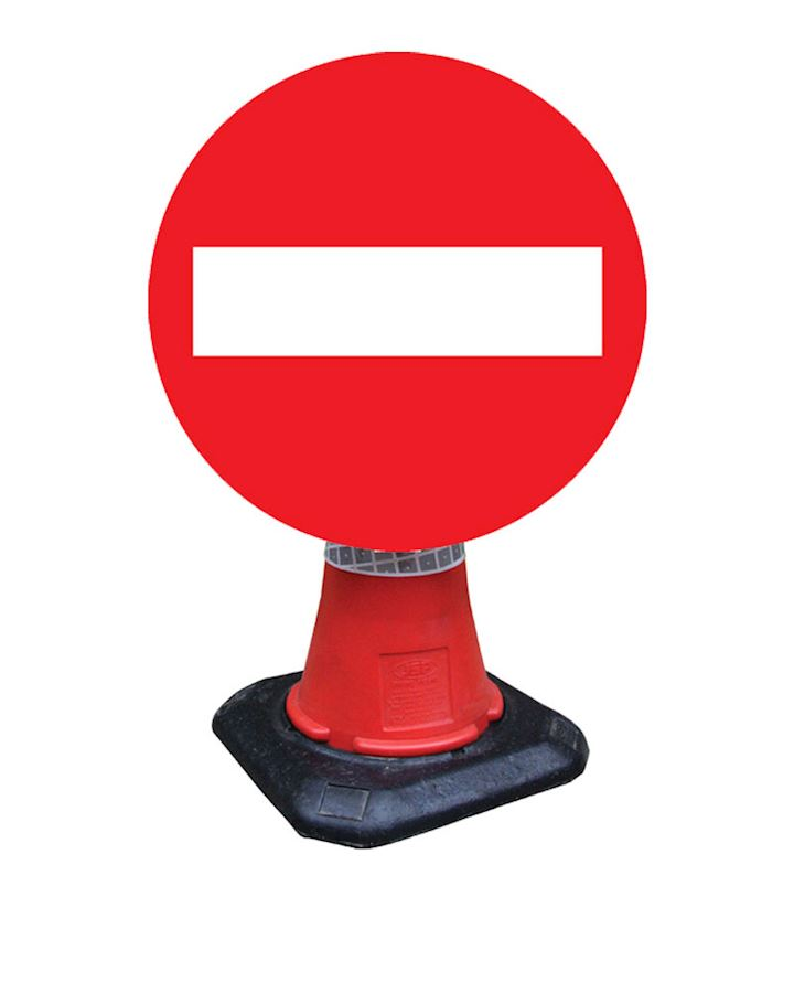 No Entry Cone Mounted Sign