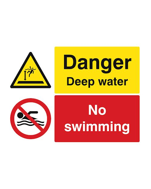 No Swimming - Danger Deep Water Sign