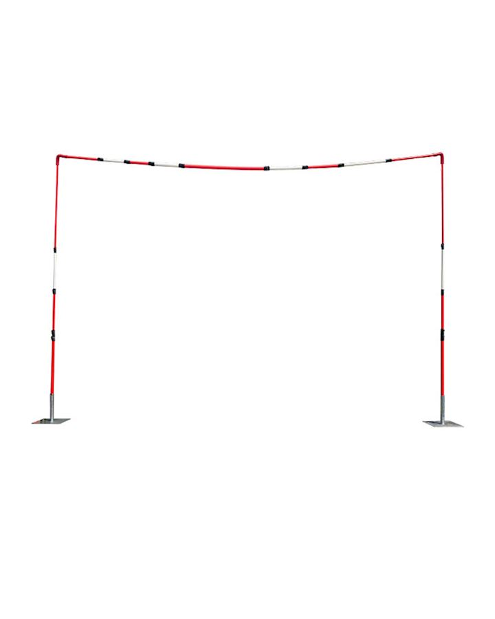 Overhead Cable Goalposts With Solid - Telescopic Crossbar