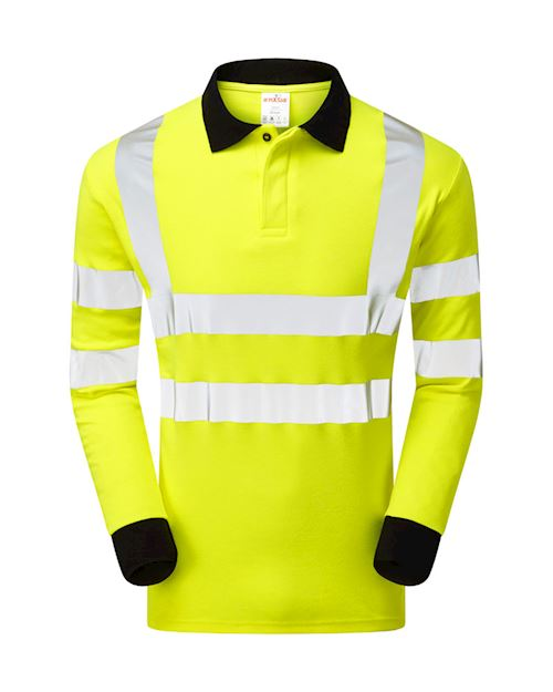 Flame Retardant Anti-Arc High Visibility Long Sleeve Polo Shirt
