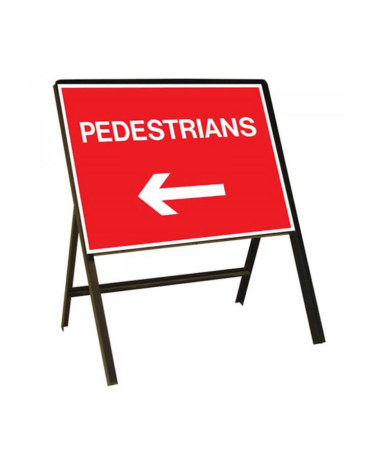 Pedestrians Left Or Right Metal Sign - Reversible