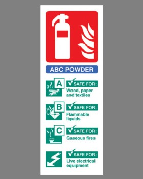 Fire Extinguisher Position Sign (ABC Powder) Self Adhesive Vinyl