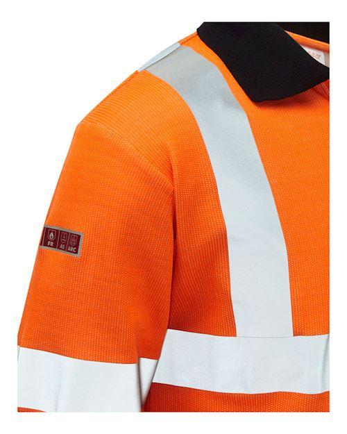Flame Retardant Anti-Arc High Visibility Orange Long Sleeve Polo Shirt
