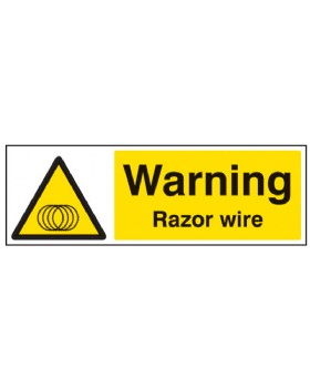 Warning Razor Wire Sign  Rigid Plastic