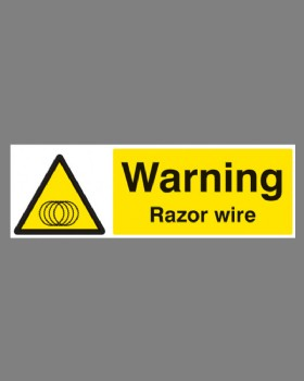 Warning Razor Wire Sign On Self Adhesive Vinyl