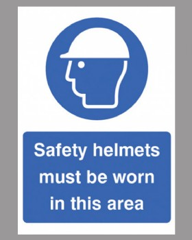 Safety Helmets Must Be Worn Sign Self Adhesive Vinyl