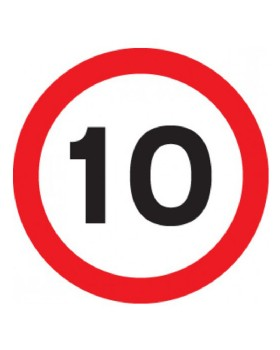 10 Mph Sign For Post Mounting