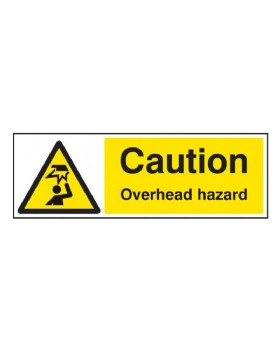Caution Overhead Hazard On Self Adhesive Vinyl