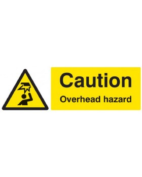 Caution Overhead Hazard On Self Adhesive Vinyl