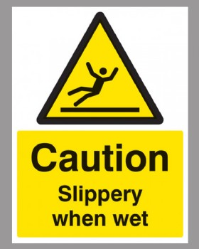 Caution Slippery When Wet Sign Self Adhesive Vinyl