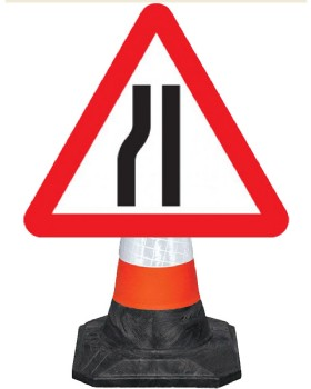 Road Narrows Nearside Cone Mounted Sign