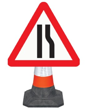 Road Narrows Offside Cone Mounted Sign