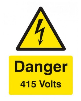 Danger 415 Volts Sign Self Adhesive Vinyl