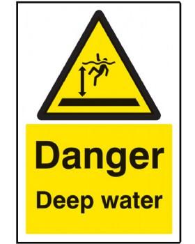 Danger Deep Water Sign On Rigid Plastic
