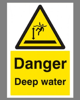 Danger Deep Water Sign On Rigid Plastic