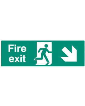 Fire Exit Down Right Sign Self Adhesive