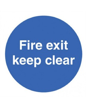 Fire Exit Keep Clear Sign Self Adhesive Vinyl