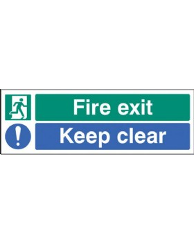 Fire Exit Keep Clear Sign On Rigid Plastic