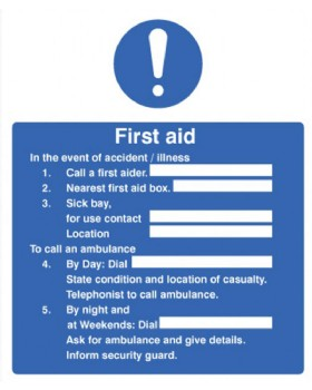 First Aid Information - Action Sign Self Adhesive Vinyl