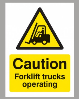 Caution Forklift Trucks Sign Self Adhesive Vinyl