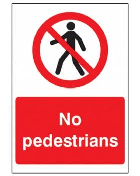 No Pedestrians Sign Rigid Plastic