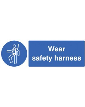 Wear Safety Harness Sign Self Adhesive Vinyl