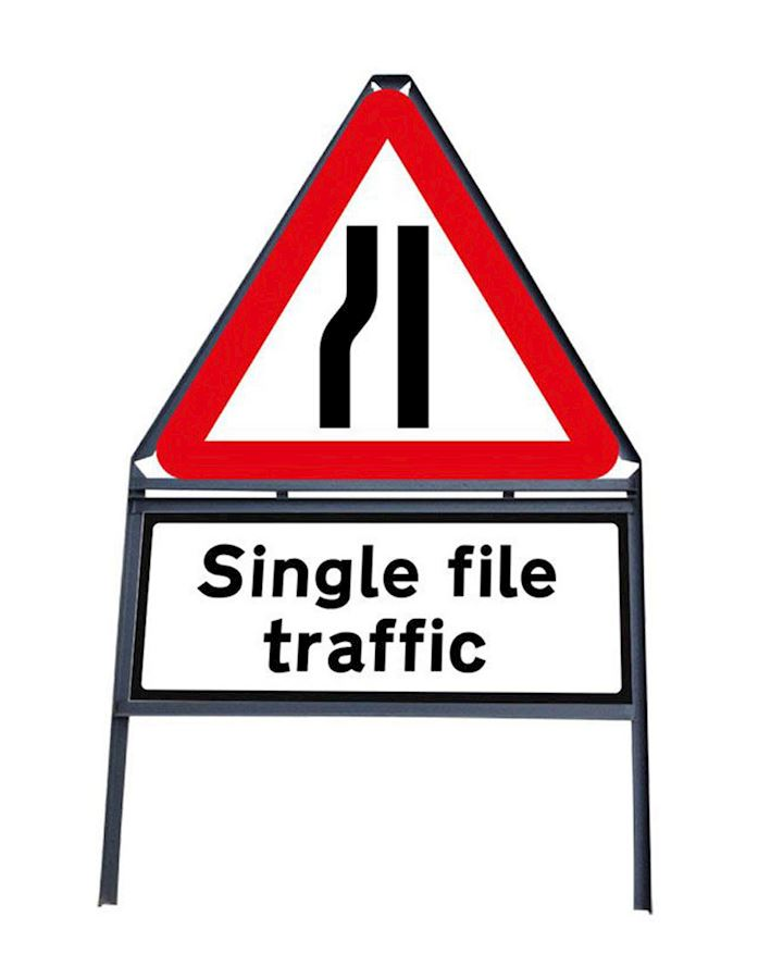 Road Narrows Nearside - Single File Traffic