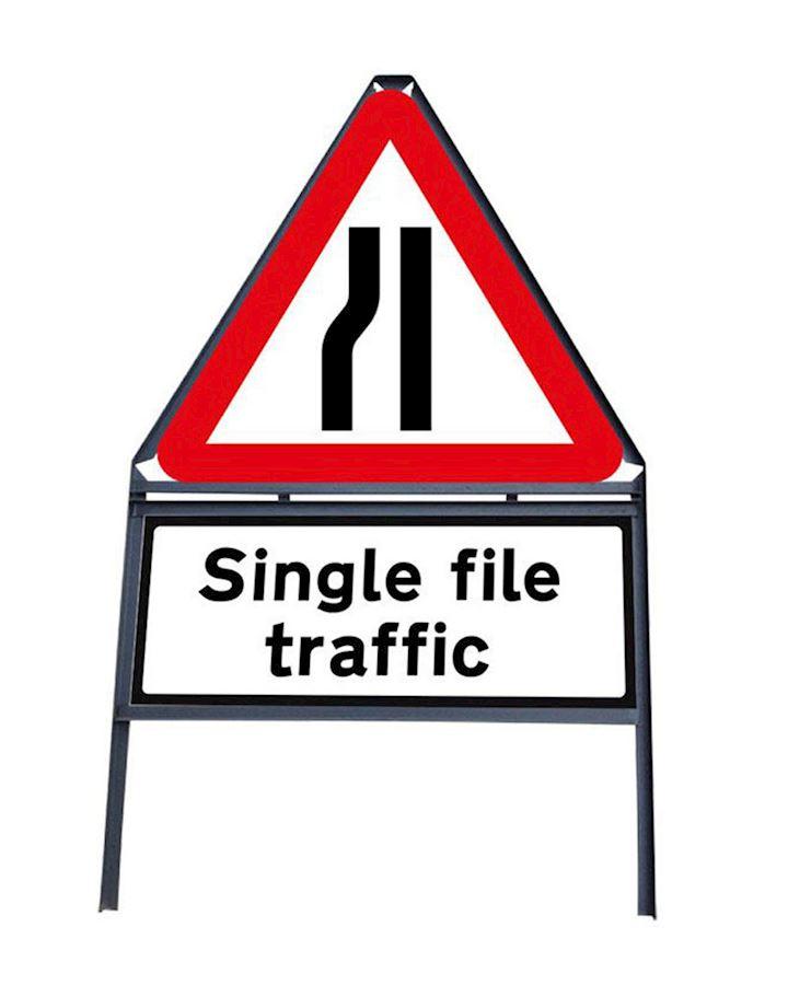 Road Narrows Nearside - Single File Traffic