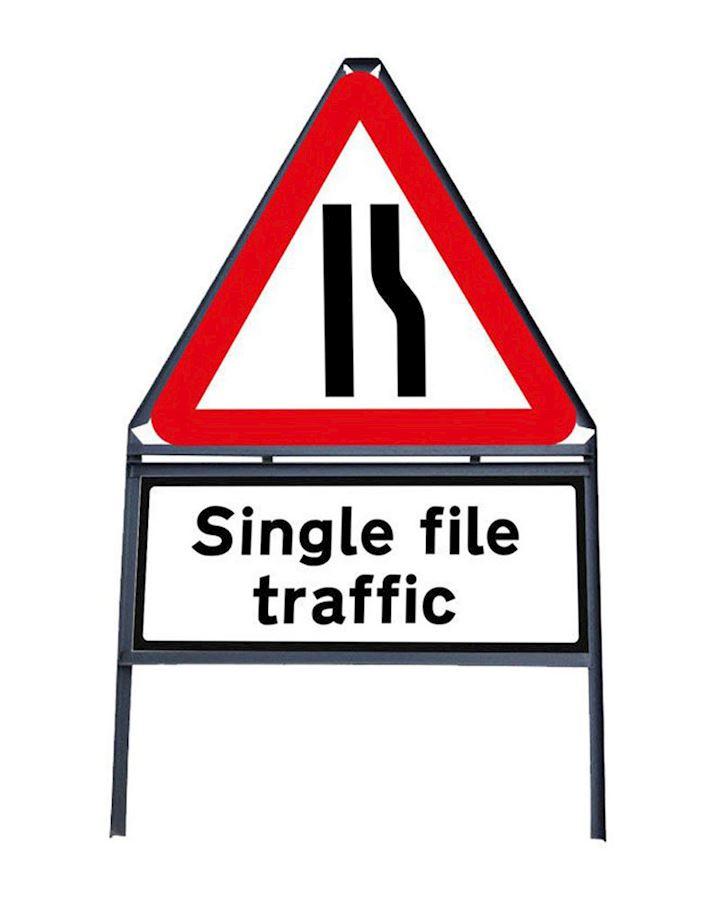 Road Narrows Offside - Single File Traffic Sign