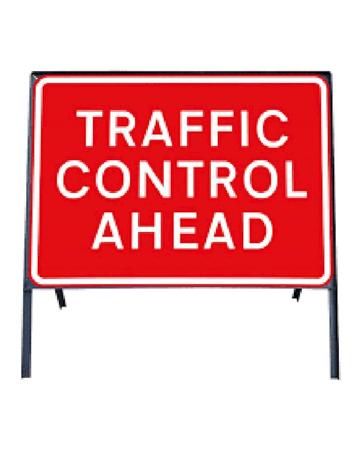 Traffic Control Ahead Metal Sign Chapter 8 Red Book