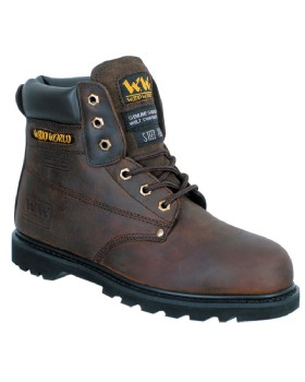 Woodworld Brown SBP Leather Safety Boot