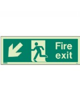 Fire Exit Down Left Sign Jalite Photo-Luminescent