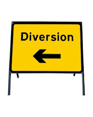 Diversion Left Metal Sign In Frame Chapter 8 Red Book