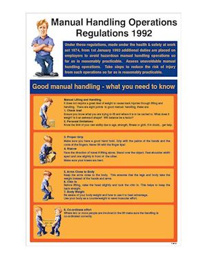 Manual Handling Regs Rigid Plastic Wall Chart