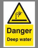 Danger Deep Water Sign Rigid Plastic