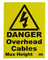 Danger Overhead Cable Sign With Fixings For Goalpost