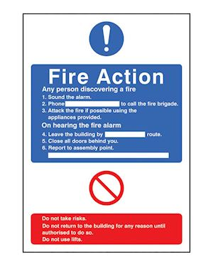 Fire Action Information Sign Self Adhesive Vinyl