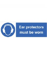 Ear Protectors Must Be Worn Sign Self Adhesive Vinyl