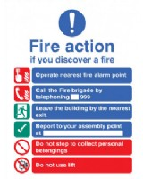 Fire Information Sign  Self Adhesive Plastic
