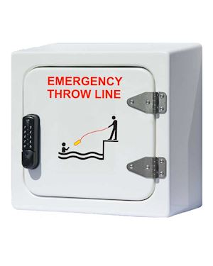 Throw Line Housing with Push Button Lock